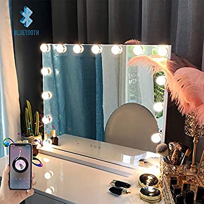 FENCHILIN Large Vanity Mirror with Lights and Blutooth Speaker, Hollywood Lighted Makeup Mirror with 15 Dimmable LED Bulbs for Dressing Room & Bedroom, Tabletop or Wall-Mounted, Slim Metal Frame White