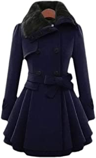 Macondoo Women's Double Breasted Winter Faux Fur Collar Belted Long Jacket Coat
