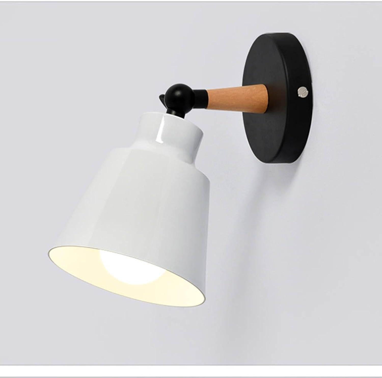 Home Deco Macaron Wandleuchte Massivholz Postmodern minimalistischen Stil Bar Wohnzimmer Korridor Balkon Nachttischlampe(Weiß)