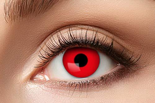 Eyecatcher - Farbige Kontaktlinsen, Farblinsen, Jahreslinsen, 2 Stück, Halloween, Karneval, Fasching, Teufel, rot, red