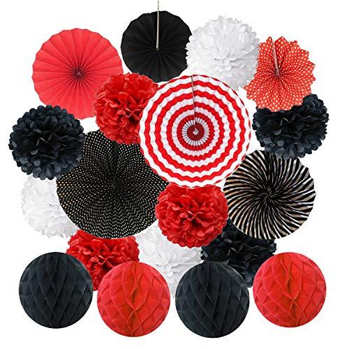 Zerodeco Rojo Negro y Blanco Abanicos de Papel Bola de Nido Pom Poms Ventilador de Papel para Colgar Decoración para Cumpleaños Boda Carnaval Bebé Ducha Home Party Supplies Decoración