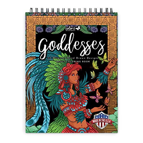 ColorIt Goddesses Adult Coloring Book Spiral Bound, USA Printed, Lay Flat Hardback Covers, Thick Smooth Paper, 50 Single-Sided Goddesses Coloring Pages