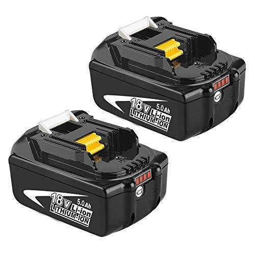 2X BL1850B 18V 5.0Ah Sostituzione Batteria per Makita 18V BL1850 BL1860B BL1860 BL1840 BL1845 BL1835 BL1830 BL1815 LXT-400 con indicatore