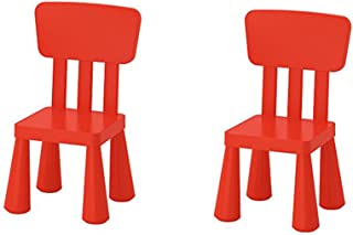Ikea Mammut Kids Indoor / Outdoor Children's Chair, Red Color - 2 Pack