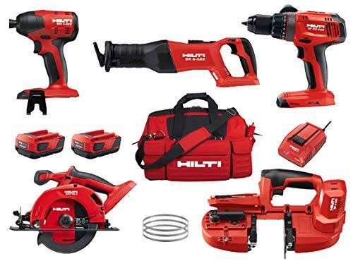 Hilti 22V 5 Tool Cordless Combo Kit   SB 4-A22 Band Saw, SCW 22-A Circular Saw, SR 6-A22 Reciprocating Saw, SID 4-A22 Impact Driver, SF 6H-A22 Hammer Drill, Batteries (2), Charger, Tool Bag