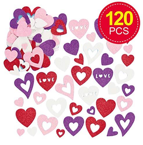 Baker Ross glittersticker van schuimrubber in hartvorm voor kinderen voor het versieren van kaarten en knutselprojecten, ideaal voor Valentijnsdag en Moederdag, 120 stuks