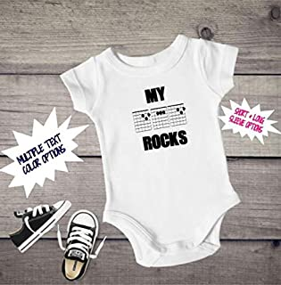 My dad Rocks, Guitar cord Onesie, My dad rocks bodysuit, fathers day, my dad is cool, musical, musician clothing, baby Onesie, baby bodysuit