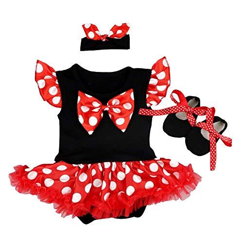 OBEEII Vestido de Halloween Polka Dots para Bebe Niña Sin Manga Romper Dress Trajes de Mamelucos Lunares para Ceremonia Carnaval Cosplay 3Piezas Ropa Diadema Zapatos 3-6 Meses