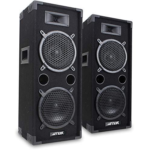 Max 2 x 8 Inch Speakers (Pair) Bedroom DJ Disco PA Party 1600W Set Mega...