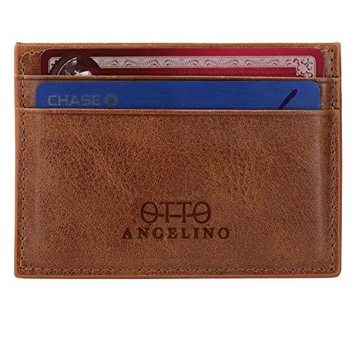 Otto Angelino Cartera Tarjetero de Cuero Genuino Delgado para hombres - Múltiples Ranuras para Tarjetas de Crédito, Tarjetas Débito, de Banco y de Negocios (Marrón Rústico)