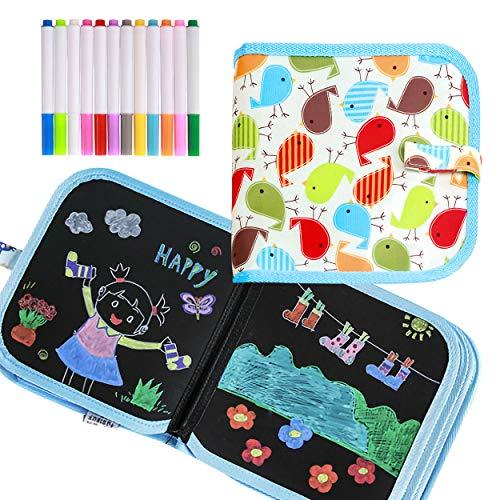 Tabla de Dibujo Portátil para Niños Libro, El diseño del Libro Puede Ser Utilizado por Dos Niños para Dibujar Al Mismo Tiempo Muy Adecuado para Compartir con Amigos (Con 12 Bolígrafos de Dibujo)