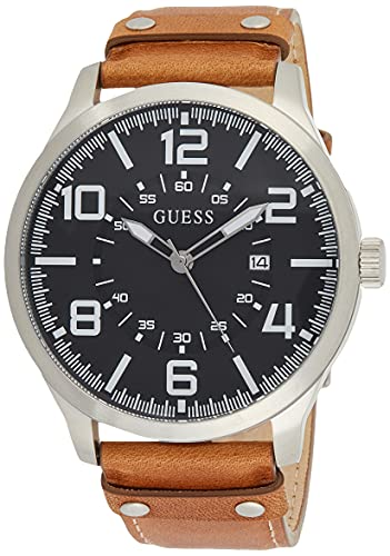 Guess Herren Analog Quarz Uhr mit Leder Armband W1301G1