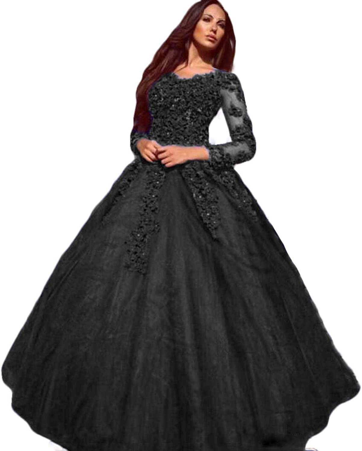 WZW Off Shoulder Prom Quinceanera Dress Plus Size Lace Applique Long Sleeve Evening Gowns
