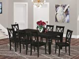 9Pc Rectangle 66/84' Dining Table With 18 In Leaf And 8 Wood Seat Dining Chairs