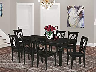 "9Pc Rectangle 66/84"" Dining Table With 18 In Leaf And 8 Wood Seat Dining Chairs (B07T8YMDMH) 