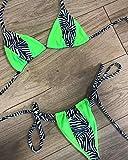 JWFK Tankinis Bikini Chica Traje de baño de Leopardo con Estampado de Cuello Colgante, Traje de baño de Leopardo, Bolso de triángulo Sexy, Traje de baño, Verde Fluorescente L