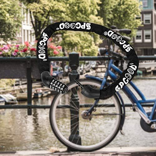 SPGOOD Fahrradschloss Fahrrad 4CM-100CM zahlenschloss Stahlkettenglieder Kettenschloss für Fahrräd,Grill, Motorrad, Tür, Tor Zaun 100 cm Länge (Blau) - 6