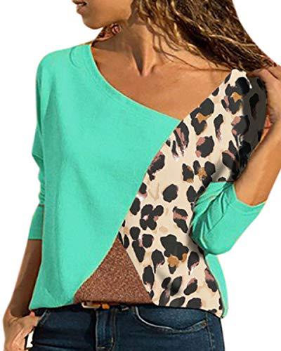 YOINS HautPull Femmes Chemise T-Shirt Manches Longues Chemisier Coton à Col Roulé Épaules Dénudées Sweat ,Léopard-vert,EU 36-38 (Taille Fabricant: S)
