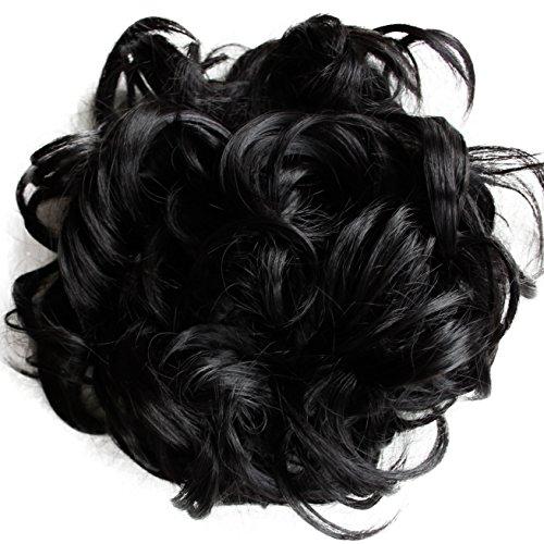 PRETTYSHOP XXL Haarteil Haargummi Hochsteckfrisuren Voluminös Gelockt Unordentlich Dutt Schwarz HW6