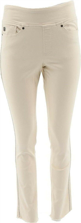 Belle Kim Gravel TripleLuxe Twill Jeans Crystal Trim A388520 Ivory