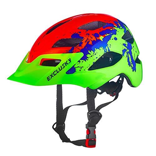 Exclusky Kinder Jugend Fahrrad Helm Skating Roller einstellbar 50-57cm (Alter 5-13) (Orange)