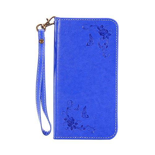Schutzhülle für Huawei Honor 7i Blau,Slynmax Rose Blume Schmetterling Hülle Wallet Hülle Tasche Klapphülle Flip Cover Slimcase Ledertasche Brieftasche Lederhülle Handytasche Stand Kartenfächer