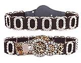 Spatart Luxury Leather Stretch Belts for Women Rhinestone Elastic Waist Belt