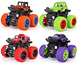 Eaglean Monster Truck Toy Car for Boys, 4 Pack Friction Powered Push Go 360 Degree Rotation 4 Wheels Drive Toys Truck Cars for 3 4 5 6 7 8 Year Old Kids