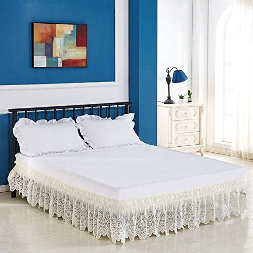LANG ZI Encaje Falda de Cama,150/135 cm Volantes elástica Falda de Cama Bedding Ruffled Bedskirt Medidas canapé Cubre unda de somier Faldón de Volantes con (Color : D, Size : 135 * 200cm)