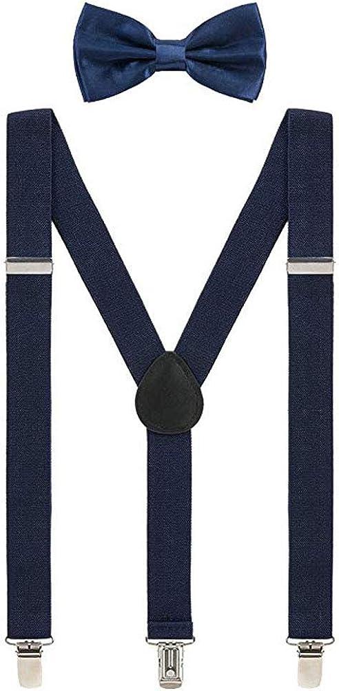 Hanerdun Mens Suspender Y Shape with Strong Clips Solid Color Adjustable Suspender With Bow Ties