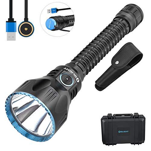 Olight Javelot Pro Linterna LED Potente Blanco Neutro 2100 lúmenes 1080 metros, Linterna USB Magnética Recargable para Militar Cazar Táctica, con caja para pilas de TIDUSKY, Negro