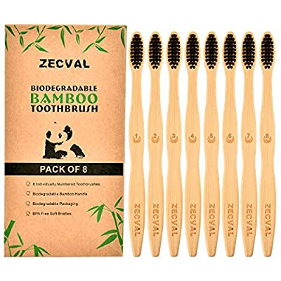 Zecval Biodegradable Natural Charcoal Bamboo Toothbrushes (Pack of 8), BPA Free Soft Bristles, Biodegradable, Compostable, Eco Friendly