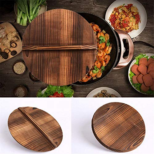 Natural Wooden Pot Cover Pan Lid with Large Handle Anti-Hot Anti-Spillover Hypotenuse Cover Wok Wooden Pan Lid-30Cm