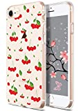 idocolors Case for Cherry iPhone 7 Cute for Girls & Women Fruit Case for iPhone 8 Red Clear Design Soft TPU Cover Thin Bumper Protective for iPhone 7/8