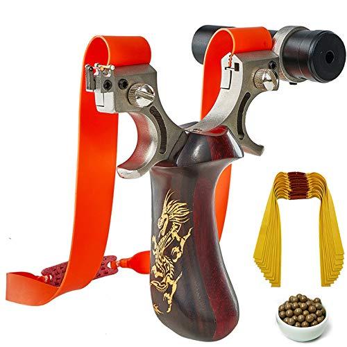 CUHSPOL Steinschleuder Sling Shot mit Ziellicht Jagd Edelstahl Zielpunkt Schleuder mit 100 Stück Schleuderkugeln 10 Stück Gummiband