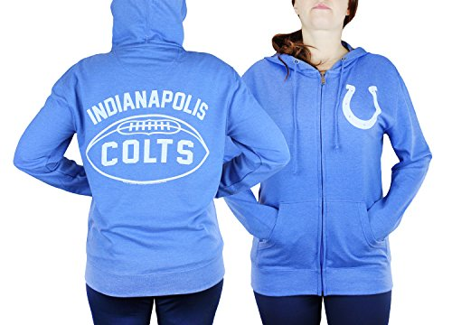 Junk Food Indianapolis Colts NFL Womens Double Coverage Full Zip French Terry Hoodie.