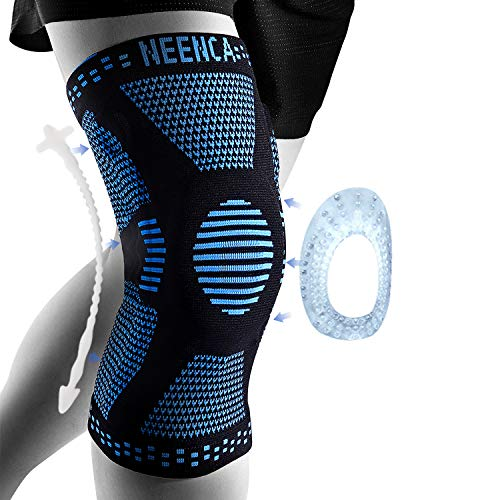 NEENCA Professional Knee Brace,Knee Compression Sleeve Support for Men Women,Medical Grade Knee Protector for Running,Meniscus Tear,Arthritis,Joint Pain Relief (Blue, XX-Large)