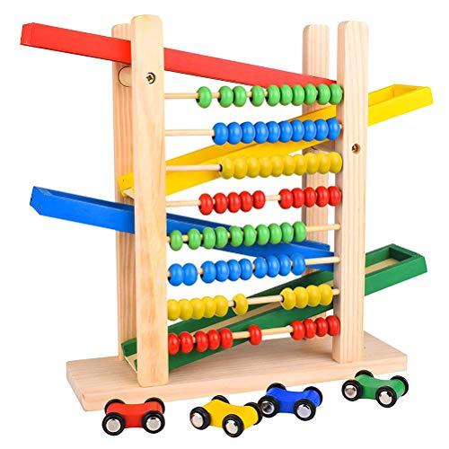 Hihey Hölzerner Rennstrecken-Abakus mit 4 Rennwagen-Vorschul-Lernspielzeug-Kindergeschenk für Jungen Mädchen Kleinkinder 1 2 3+ Jahre alte