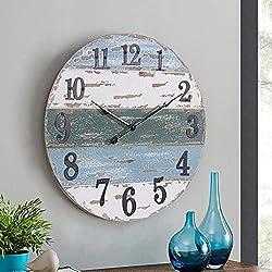 Large Farmhouse 18 Wall Clock Beach Theme Nautical Coastal Wall Decor for Living Room Kitchen Bedroom, Weathered Blue