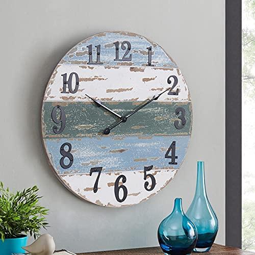 Large Farmhouse 18' Wall Clock Beach Theme Nautical Coastal Wall Decor for Living Room Kitchen Bedroom, Weathered Blue