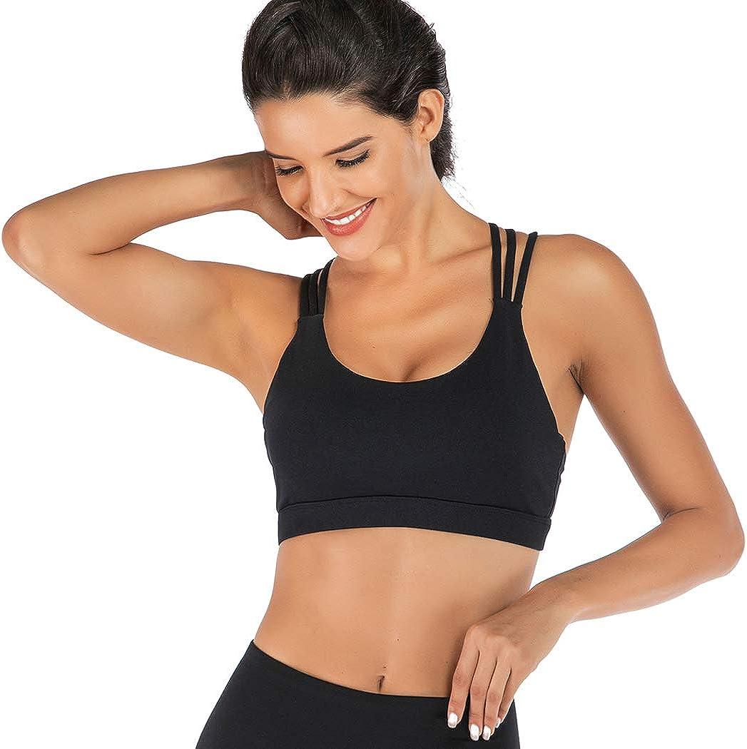FLORATA Women's Medium Support Cross Back Wirefree Removable Cups Yoga Sport Bra