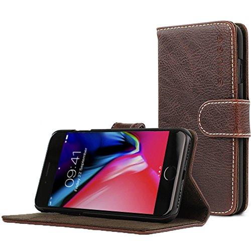 Snugg Schutzhülle für iPhone SE (2020) 7/8 – Etui aus Leder mit Kartenschlitzen & Ständer – Legacy-Kollektion, Flipcase, Handyhülle in Dunkelbraun