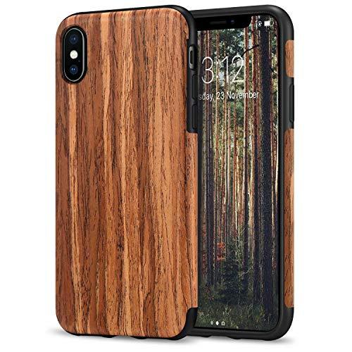 TENDLIN Kompatibel mit iPhone X Hülle/iPhone XS Hülle Holz & TPU Silikon Hybrid Weiche Schutzhülle Kompatibel mit iPhone X/iPhone XS (Rotes Sandelholz)
