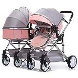 LjfRⓇ Hot Mom Kinderwagen Reisesystem Abnehmbarer Zwillingswagen, Stoßfest, Faltbarer Kinderwagen...