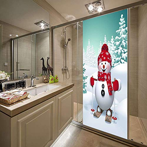 KEXIU 3D Esquí muñeco de nieve navideño PVC fotografía adhesivo vinilo puerta pegatina cocina baño decoración mural 77x200cm
