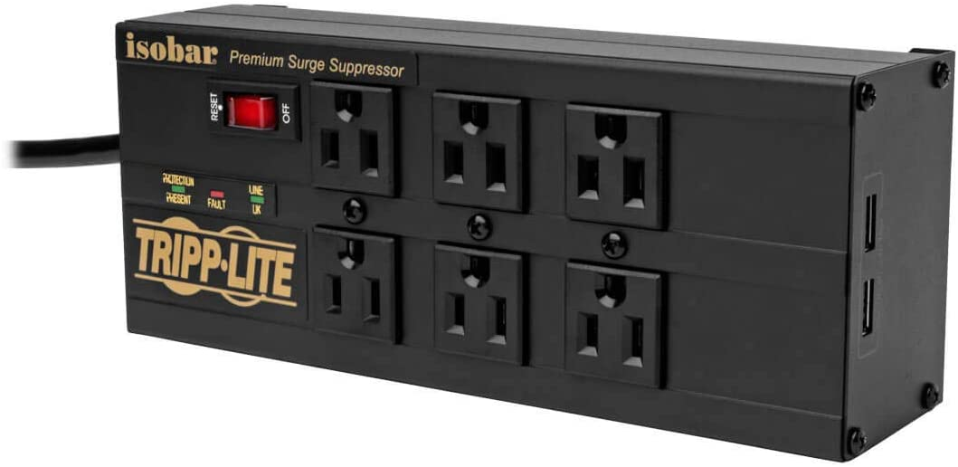 Tripp Lite Isobar 6 Outlet Surge Protector Power Strip with 2 USB Charging Ports,10ft Long Cord,Right-Angle Plug Metal 3840 Joules,Lifetime Limited Warranty /& $50K Insurance IBAR6ULTRAUSBB Black