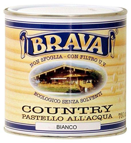 Brava coub7Country Pastel para madera al agua, blanco, 750ml