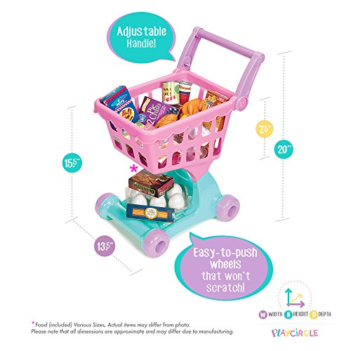 Play Circle by Battat – Pink Shopping Day Grocery Cart – Toy Shopping Cart with Pretend Play Food Items – Realistic Kitchen Accessories for Kids Ages 3 and Up (30 Pieces)