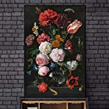 Cuadros decorativos Bodegón con flores en un jarrón de vidrio, pinturas al óleo impresas en lienzo, carteles artísticos e impresiones, imágenes artísticas barrocas, decoración del hogar-60x80cm