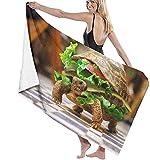Toalla De Playa,Toalla De Playa Cuadrada Multifuncional Manta De Playa De Gran Tamaño Burger Turtle para Adultos Y Niños, Súper Suave Y Absorbente Rápido